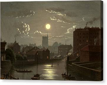 Moonlight Scene Canvas Print by W Crambrook