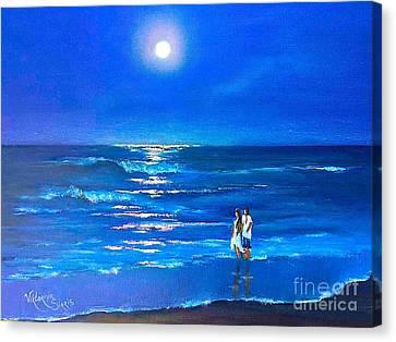 Pallet Knife Canvas Print - Moonlight Silence  by Viktoriya Sirris