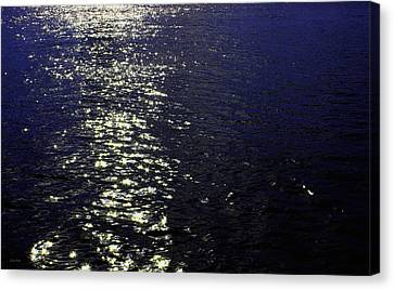 Moonlight Sparkles On The Sea Canvas Print by Linda Woods