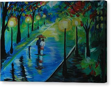 Canvas Print featuring the painting Moonlight Stroll by Leslie Allen