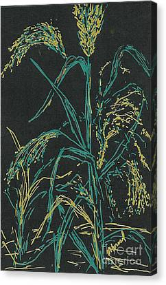 Canvas Print featuring the mixed media Moonlight Wheat by Vicki  Housel
