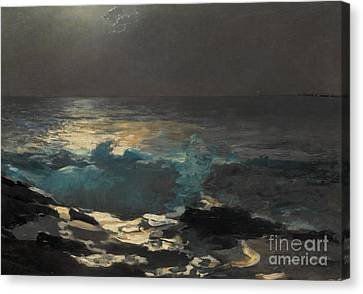 Moonlight, Wood Island Light, 1894 Canvas Print by Winslow Homer