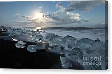 Moonlit Ice Beach Canvas Print by Roddy Atkinson