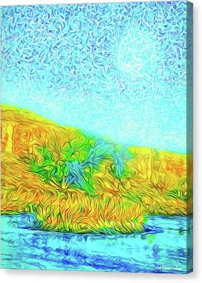 Canvas Print featuring the digital art Moonlit Island Blue - Boulder County Colorado by Joel Bruce Wallach
