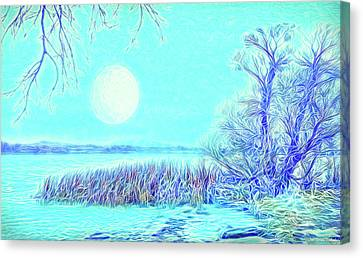 Canvas Print featuring the digital art Moonlit Lake In Blue - Boulder County Colorado by Joel Bruce Wallach