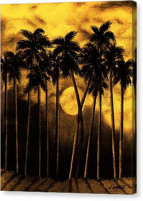 Moonlit Palm Trees In Yellow Canvas Print by Larry Lehman