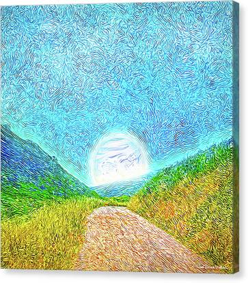 Canvas Print featuring the digital art Moonlit Path - Marin California Trail by Joel Bruce Wallach