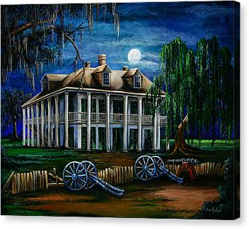 Moonlit Plantation Canvas Print by Elaine Hodges