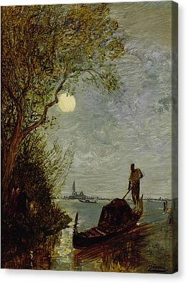 Moonlit Scene With Gondola Canvas Print by Felix Ziem