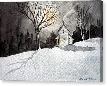 Moonlit Snow Canvas Print