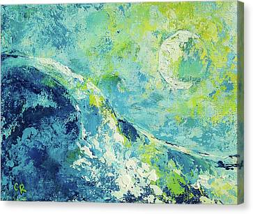 Canvas Print featuring the painting Moonlit Surf by Chris Rice