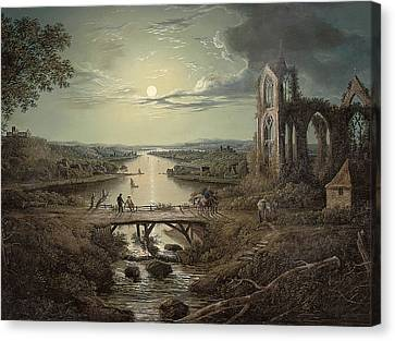 Moonlit View Of The River Tweed With Melrose Abbey In The Foreground And Figures On A Bridge Canvas Print by Abraham Pether