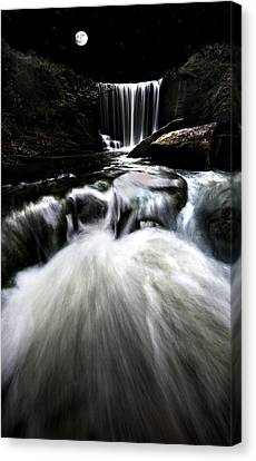Moonlit Waterfall Canvas Print by Meirion Matthias