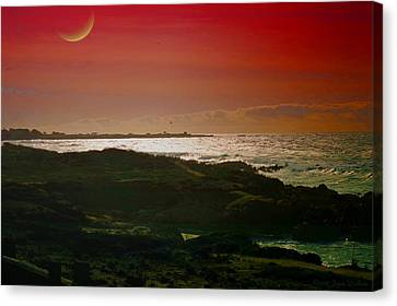 Moonrise And Sunset On The Pacific Canvas Print by Joyce Dickens