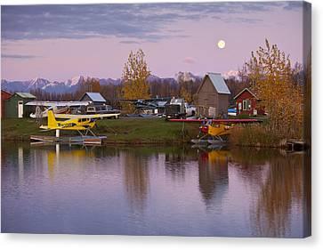 Moonrise At Lake Hood Canvas Print by Tim Grams