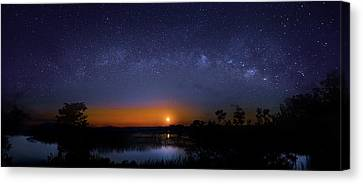 Moonrise At Milky Way Creek Canvas Print by Mark Andrew Thomas