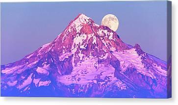 Moonrise Behind Mt. Hood Canvas Print