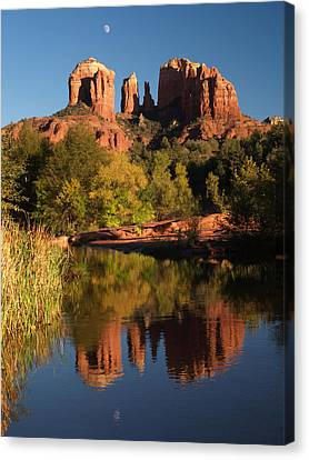 Canvas Print featuring the photograph Moonrise Cathedral Rocks by Harold Rau