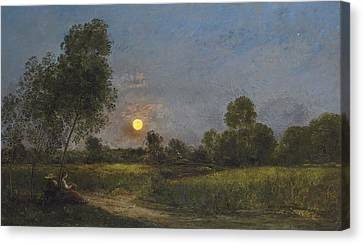 Warm Summer Canvas Print - Moonrise by Charles Francois Daubigny