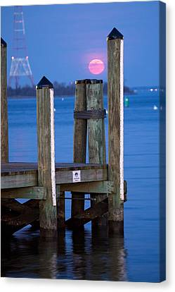 Canvas Print featuring the photograph Moonrise Dock by Jennifer Casey