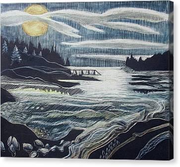 Moonrise, Duck Harbor Canvas Print by Grace Keown