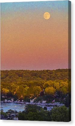 Framing Canvas Print - Moonrise Fontana - Lake Geneva Wisconsin by Ben Thompson