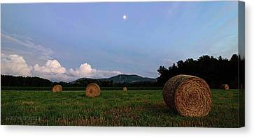 Bales Canvas Print - Moonrise Hayfield by Jerry LoFaro