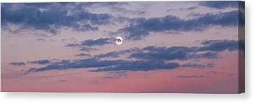 Moonrise In Pink Sky Canvas Print