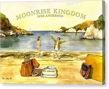 Moonrise Kingdom Poster From Watercolor Canvas Print by Juan  Bosco