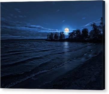 Moonrise On The Beach Canvas Print