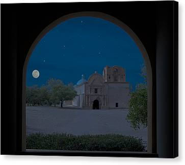 Moonrise On Tumacacori Mission Canvas Print by Sandra Bronstein