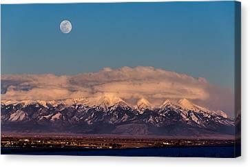 Moonrise Over Mount Blanca Winter San Luis Valley Colorado Canvas Print