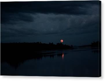 Moonrise Over Blue Hill Bay Canvas Print by Greg DeBeck