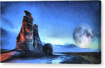 Canvas Print featuring the digital art Moonrise Over Castle Rock by JC Findley