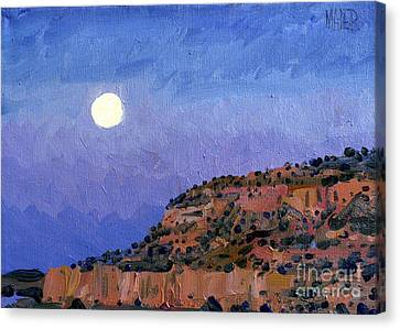 Moonrise Over Gallup Canvas Print by Donald Maier