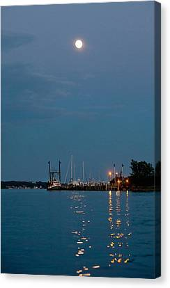 Moonrise Over Montauk Canvas Print by Art Block Collections