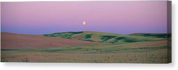 Moonrise Over Pea Fields, The Palouse Canvas Print by Panoramic Images