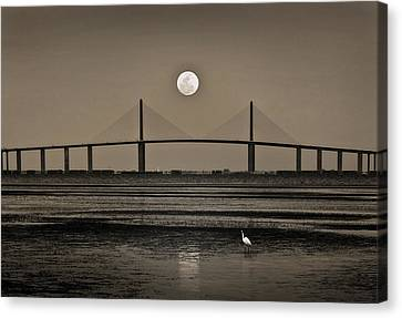 Moonrise Over Skyway Bridge Canvas Print by Steven Sparks