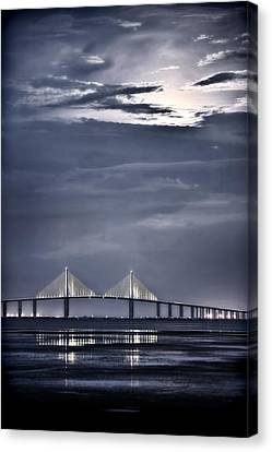 Moonrise Over Sunshine Skyway Bridge Canvas Print by Steven Sparks
