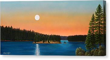 Moonrise Over The Lake Canvas Print