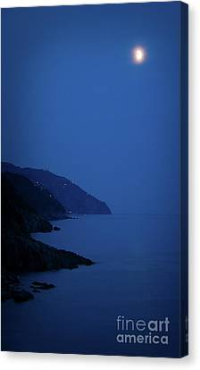 Moonrise Over Vernazza Canvas Print by Doug Sturgess