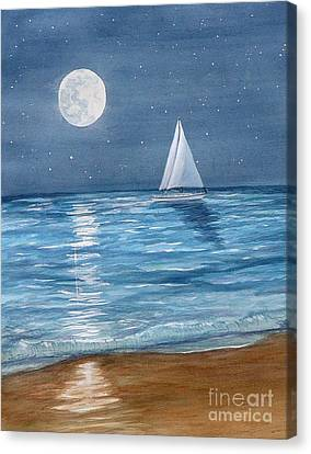 Moonrise Sail Canvas Print by Pauline Ross