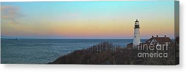 Moonrising Over Portland Headlight Canvas Print by David Bishop