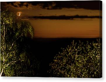 Canvas Print featuring the photograph Moonset At Bay Harbor by Onyonet  Photo Studios