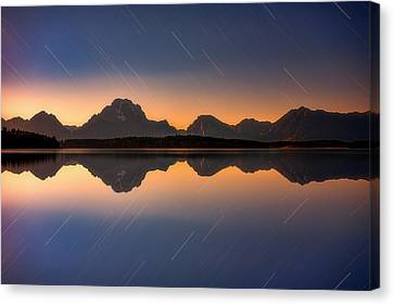 Moonset At Moran Canvas Print by Darren White