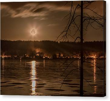 Moonset On Conesus Canvas Print