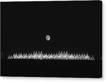 Moonset Over Dia Canvas Print by Kristal Kraft