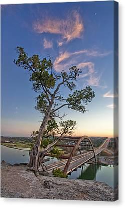 Moonset Over The 360 Bridge Austin Texas 1 Canvas Print by Rob Greebon