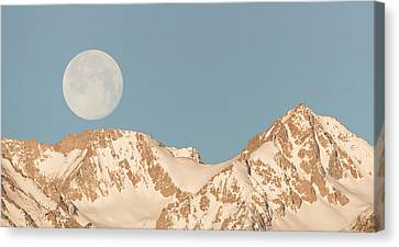 Moonset Over The Eastern Sierra Canvas Print