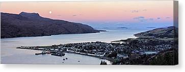 Canvas Print featuring the photograph Moonset Sunrise Over Ullapool by Grant Glendinning